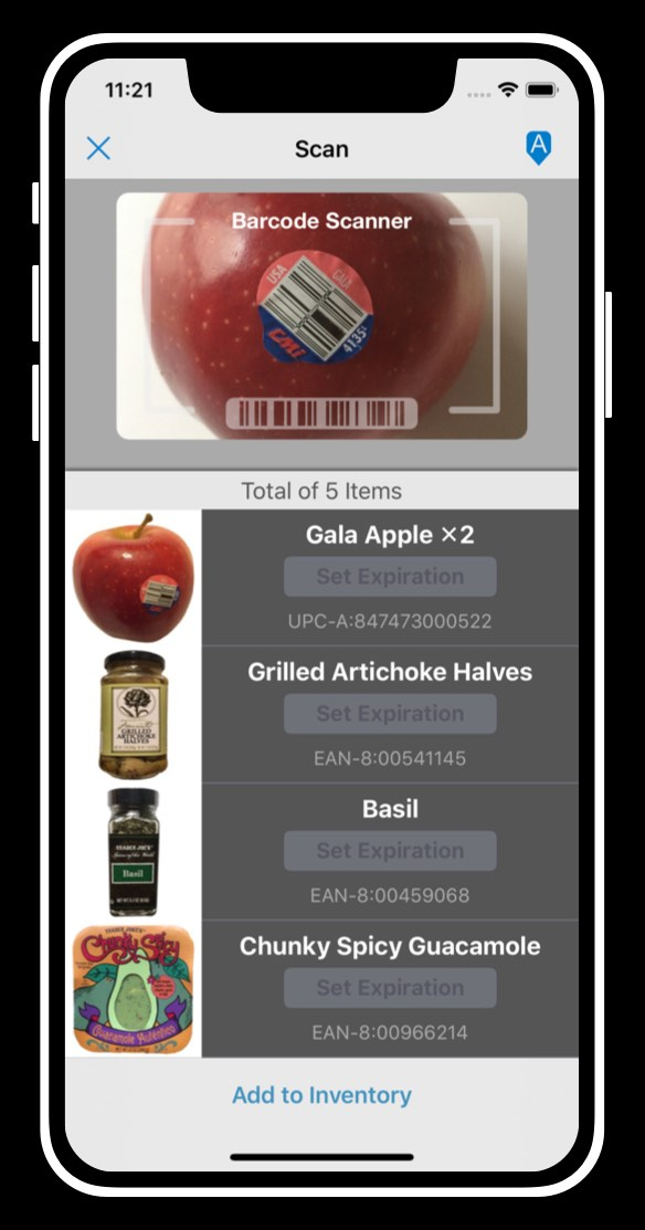 barcode scanner screen with queued items scanned in batch mode