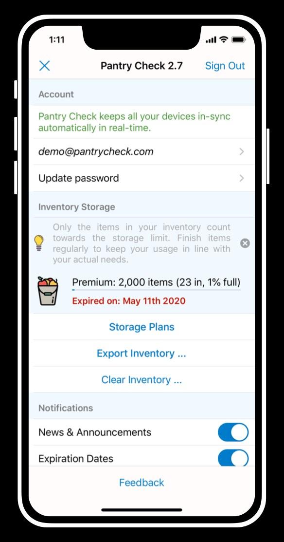 in-app settings screen